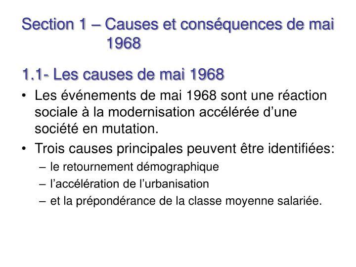 Section 1 – Causes et conséquences de mai    1968