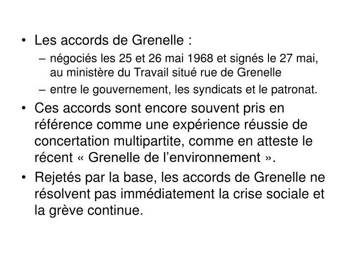 Les accords de Grenelle :