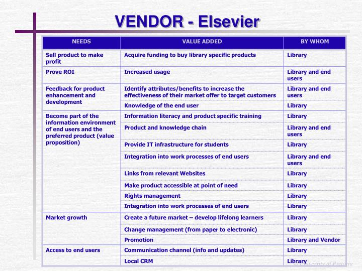 VENDOR - Elsevier