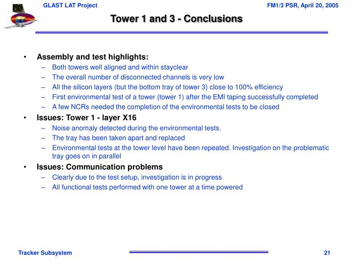 Tower 1 and 3 - Conclusions