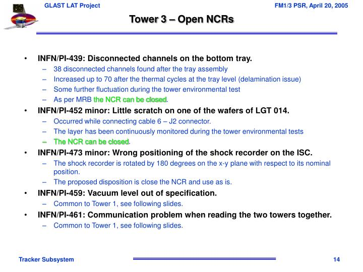Tower 3 – Open NCRs