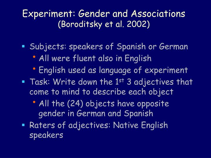 Experiment: Gender and Associations