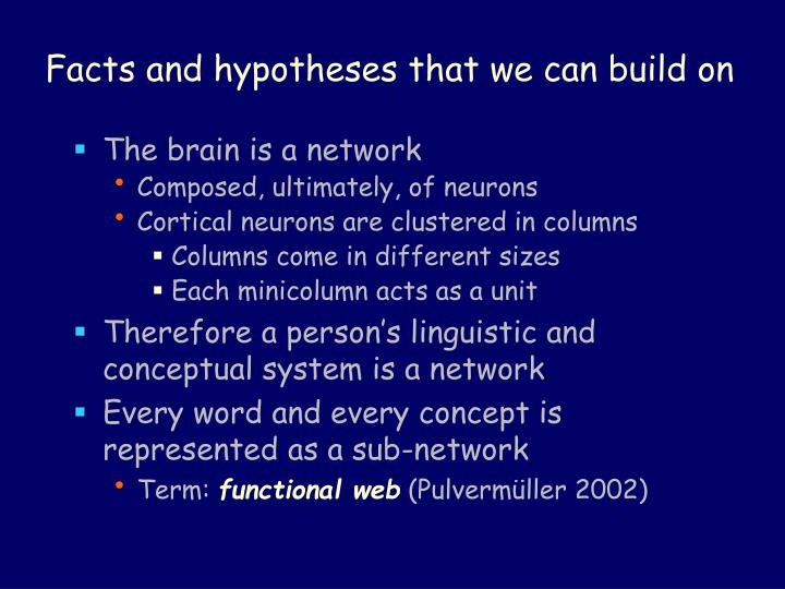 Facts and hypotheses that we can build on