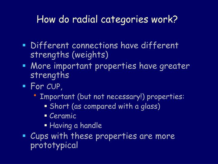 How do radial categories work?
