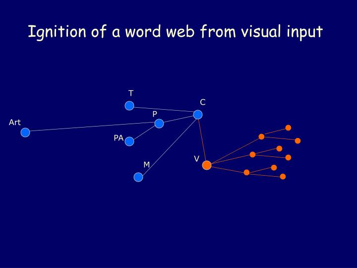 Ignition of a word web from visual input