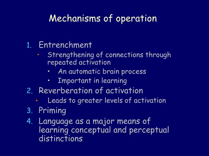 Mechanisms of operation