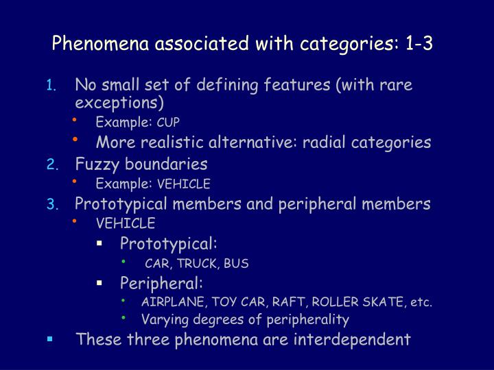 Phenomena associated with categories: 1-3