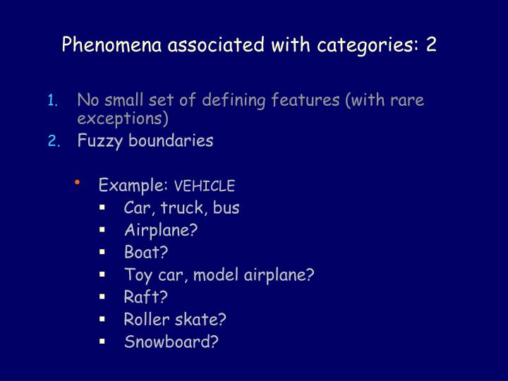 Phenomena associated with categories: 2