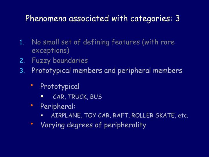 Phenomena associated with categories: 3