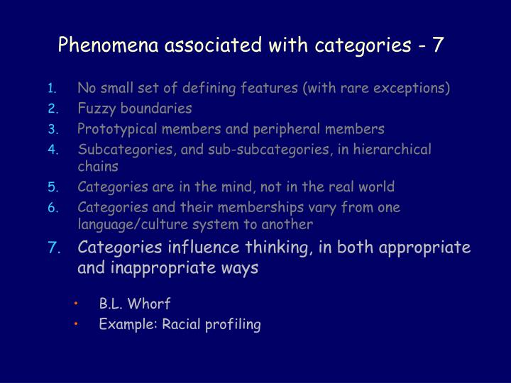 Phenomena associated with categories - 7