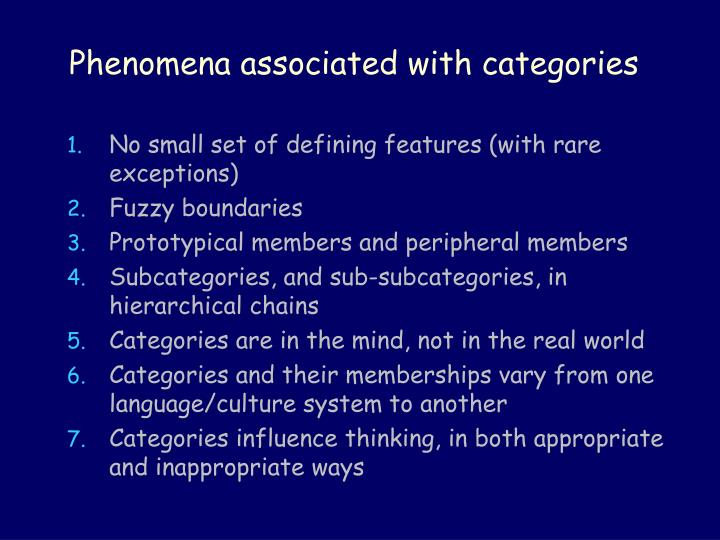Phenomena associated with categories