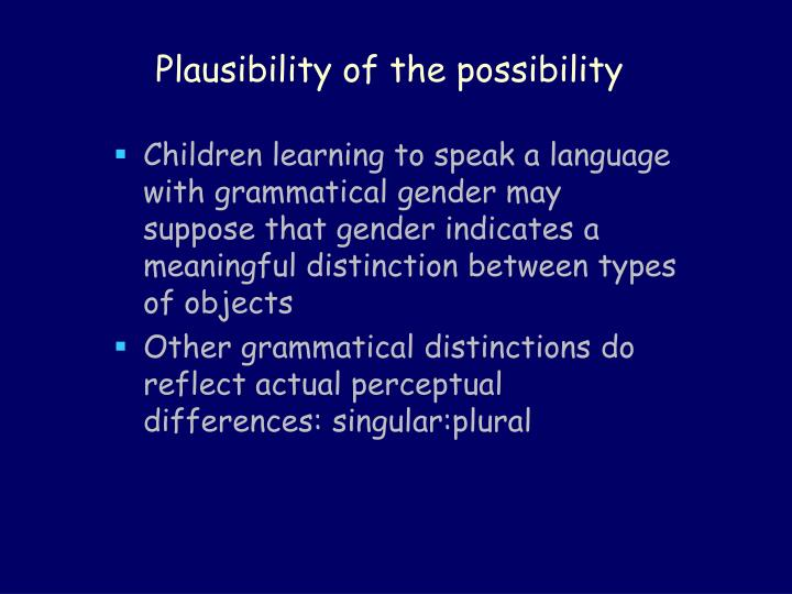Plausibility of the possibility