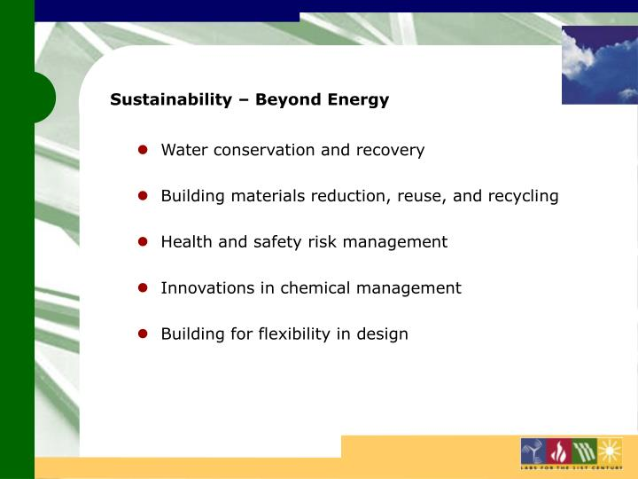 Sustainability – Beyond Energy