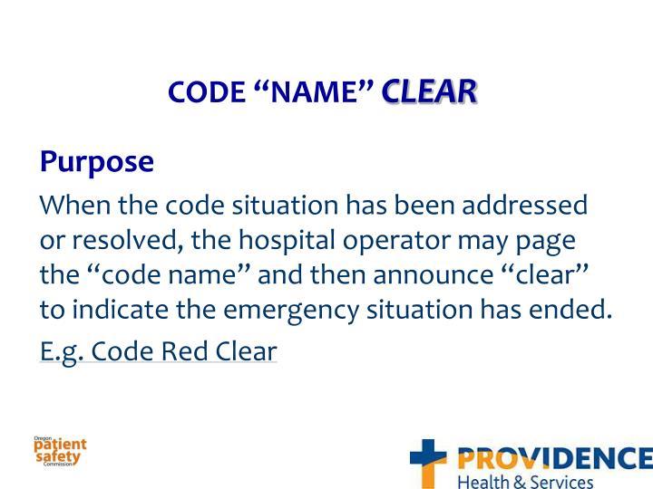 """CODE """"NAME"""""""