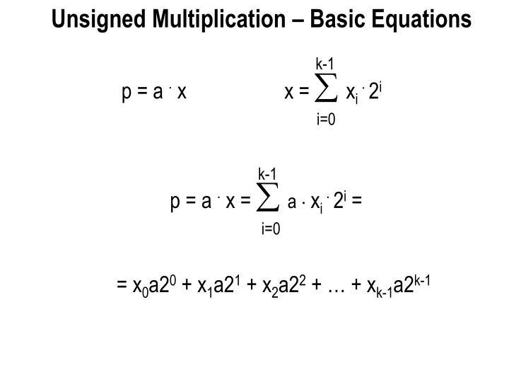 Unsigned Multiplication – Basic Equations