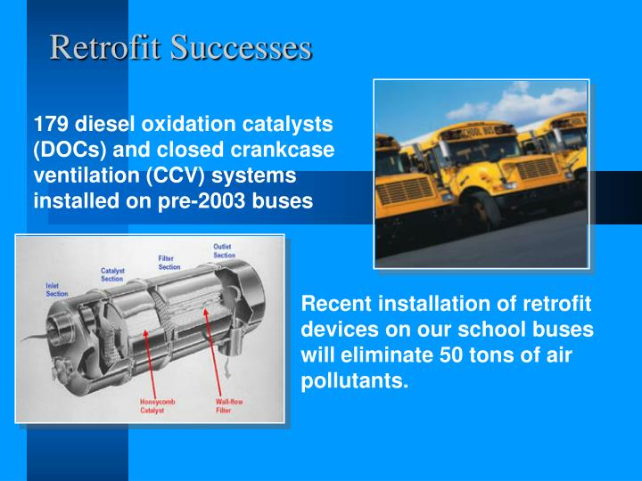 179 diesel oxidation catalysts (DOCs) and closed crankcase ventilation (CCV) systems installed on pre-2003 buses