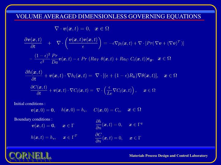VOLUME AVERAGED DIMENSIONLESS GOVERNING EQUATIONS