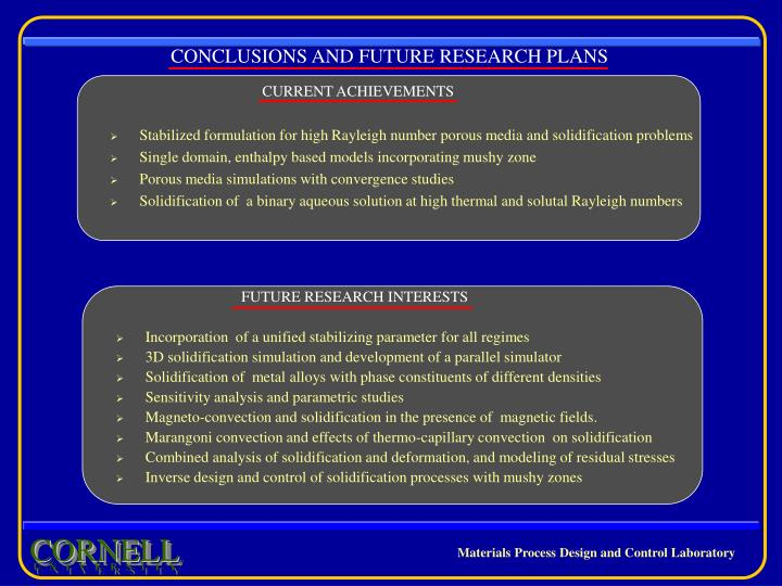 CONCLUSIONS AND FUTURE RESEARCH PLANS