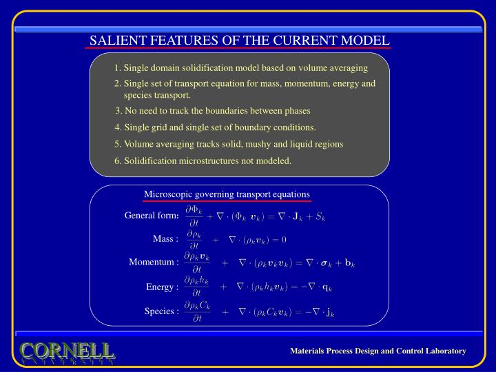 SALIENT FEATURES OF THE CURRENT MODEL