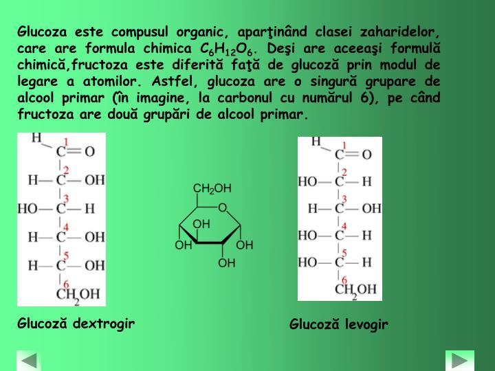Glucoza este compusul organic, aparţinând clasei zaharidelor, care are formula chimica C