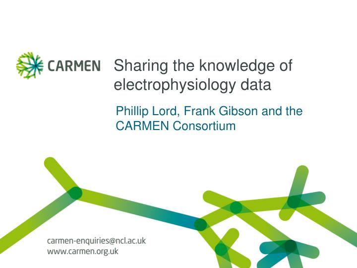 sharing the knowledge of electrophysiology data