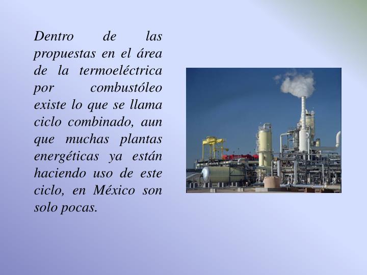 Dentro de las propuestas en el área de la termoeléctrica por combustóleo existe lo que se llama ciclo combinado, aun que muchas plantas energéticas ya están haciendo uso de este ciclo, en México son solo pocas.