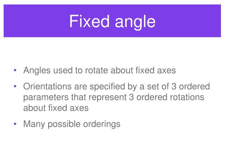 Fixed angle