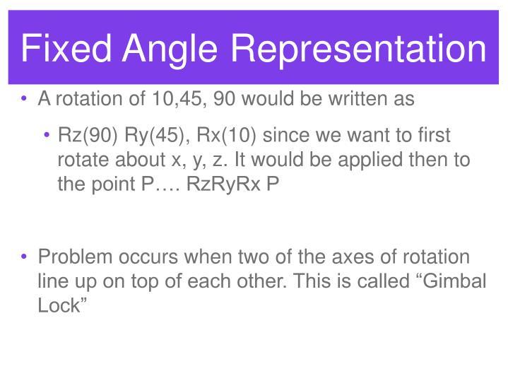 Fixed Angle Representation