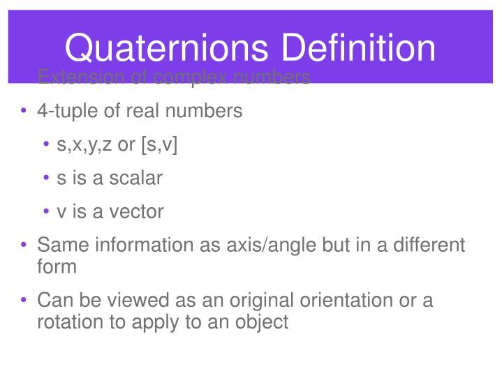 Quaternions Definition