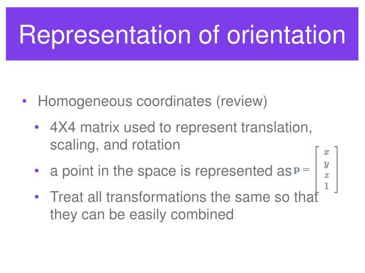 Representation of orientation