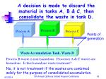a decision is made to discard the material in tanks a b c then consolidate the waste in tank d