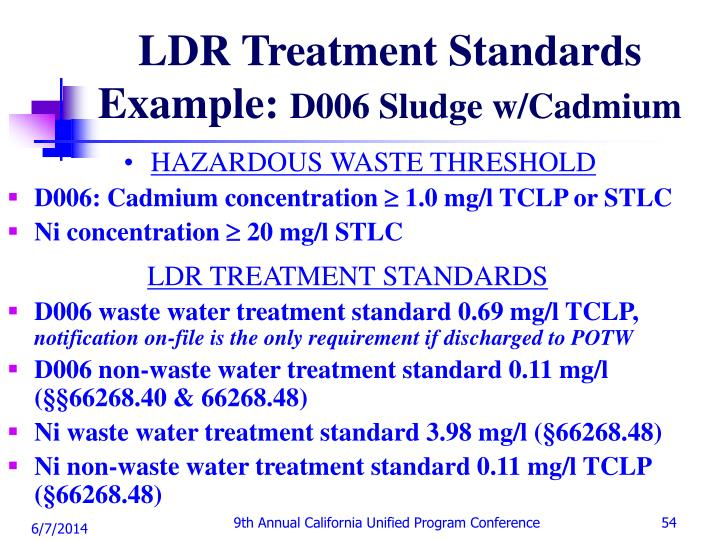LDR Treatment Standards Example: