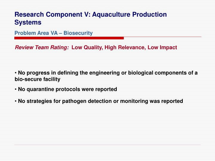 Research Component V: Aquaculture Production Systems