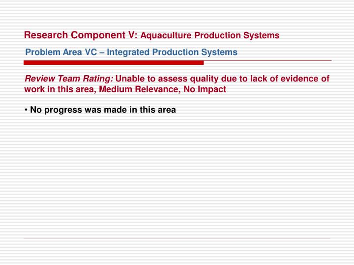 Research Component V: