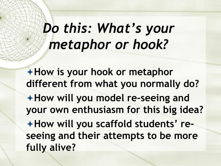 Do this: What's your metaphor or hook?