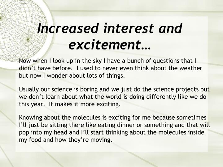 Increased interest and excitement…