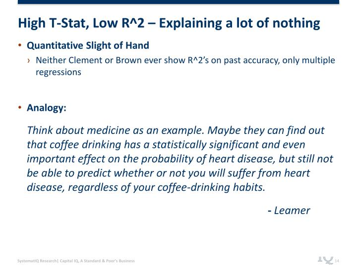 High T-Stat, Low R^2 – Explaining a lot of nothing