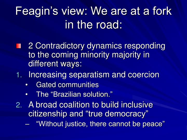 Feagin's view: We are at a fork in the road:
