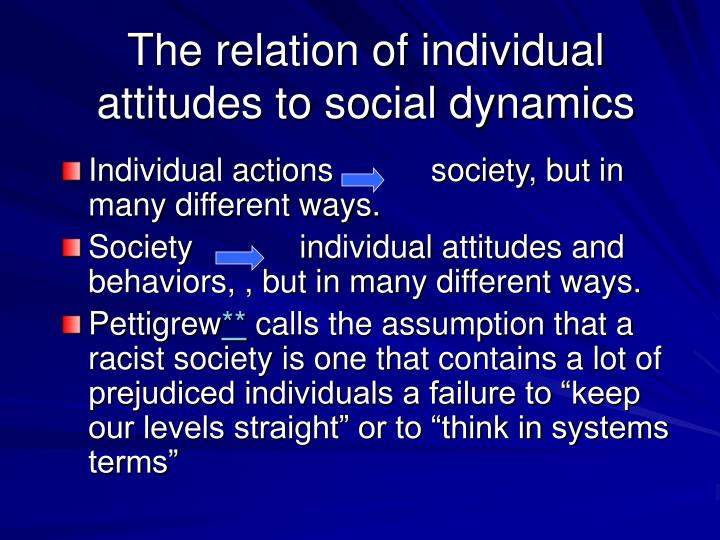 The relation of individual attitudes to social dynamics