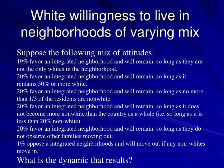 White willingness to live in neighborhoods of varying mix