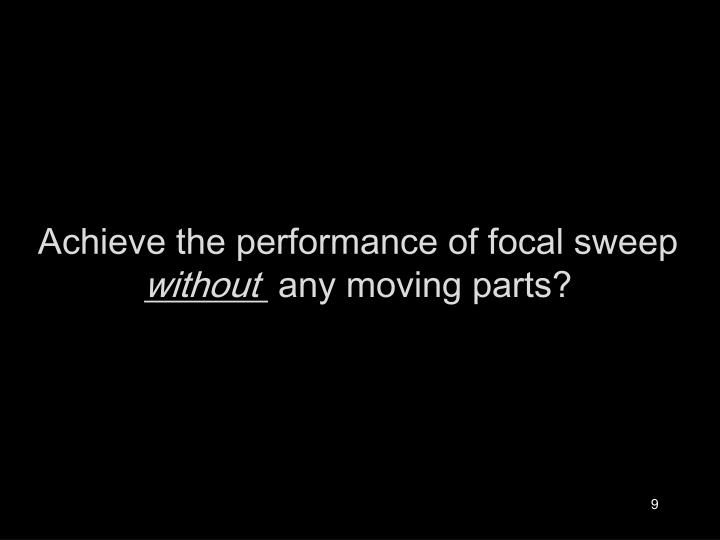 Achieve the performance of focal sweep