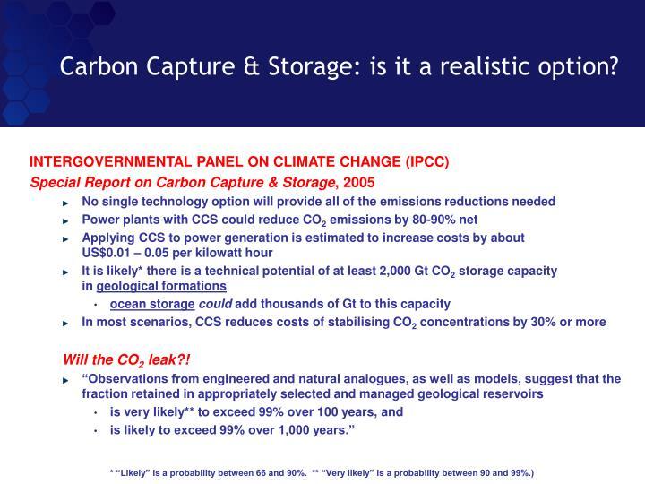 Carbon Capture & Storage: is it a realistic option?