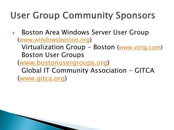 User Group Community Sponsors