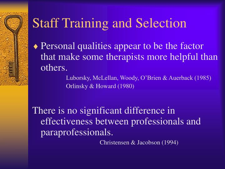 Staff Training and Selection