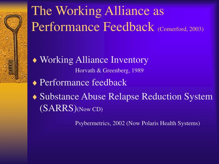 The working alliance as performance feedback comerford 2003