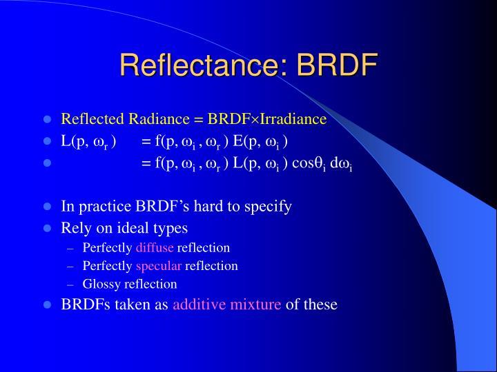 Reflectance: BRDF
