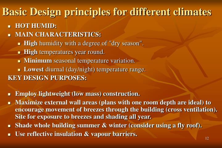 Basic Design principles for different climates