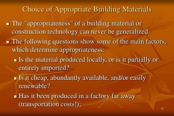 Choice of Appropriate Building Materials
