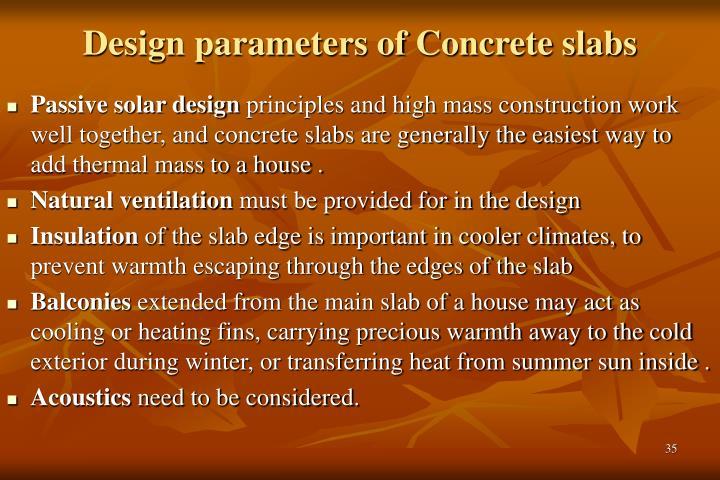 Design parameters of Concrete slabs