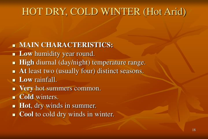 HOT DRY, COLD WINTER (Hot Arid)